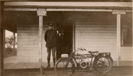 Police Officer outside Mossgiel Police Station